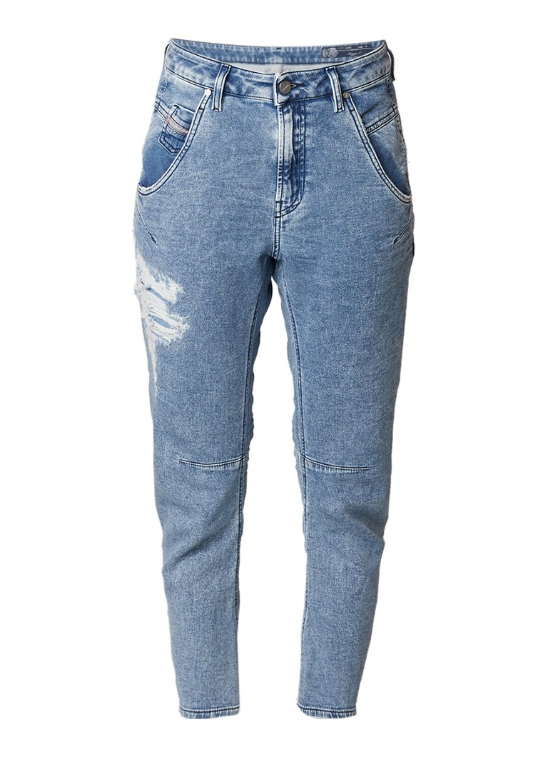 Diesel Fayza-T high rise tapered fit jeans met destroyed afwerking 084PV