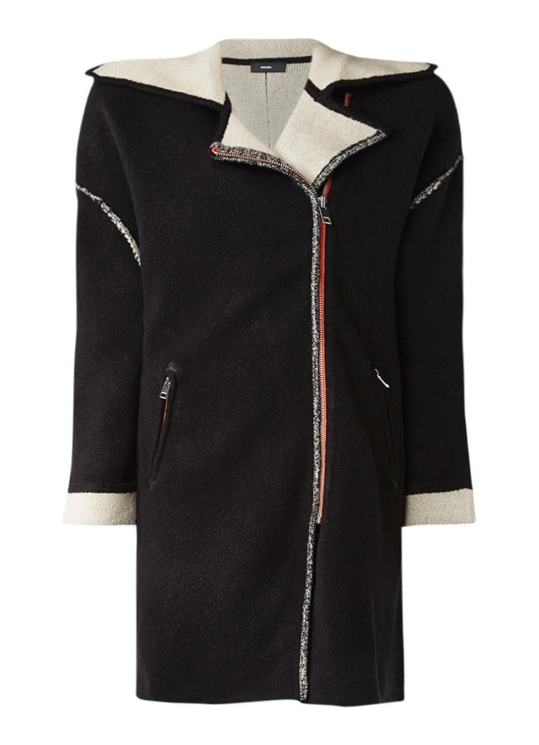 Diesel M-Bice fijngebreide jas met asymmetrische rits