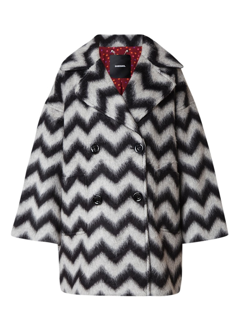 Diesel Leslie mantel in wolblend met zigzag dessin