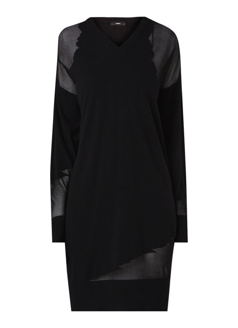 Diesel M-Lily fijngebreide jurk in wolblend met mesh inzet zwart