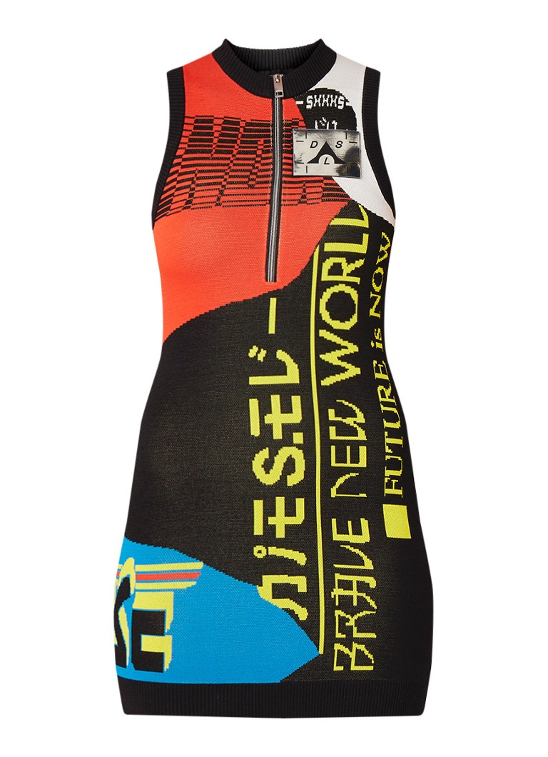 Diesel M-Run bodycon jurk met ingeweven dessin en halve rits zwart