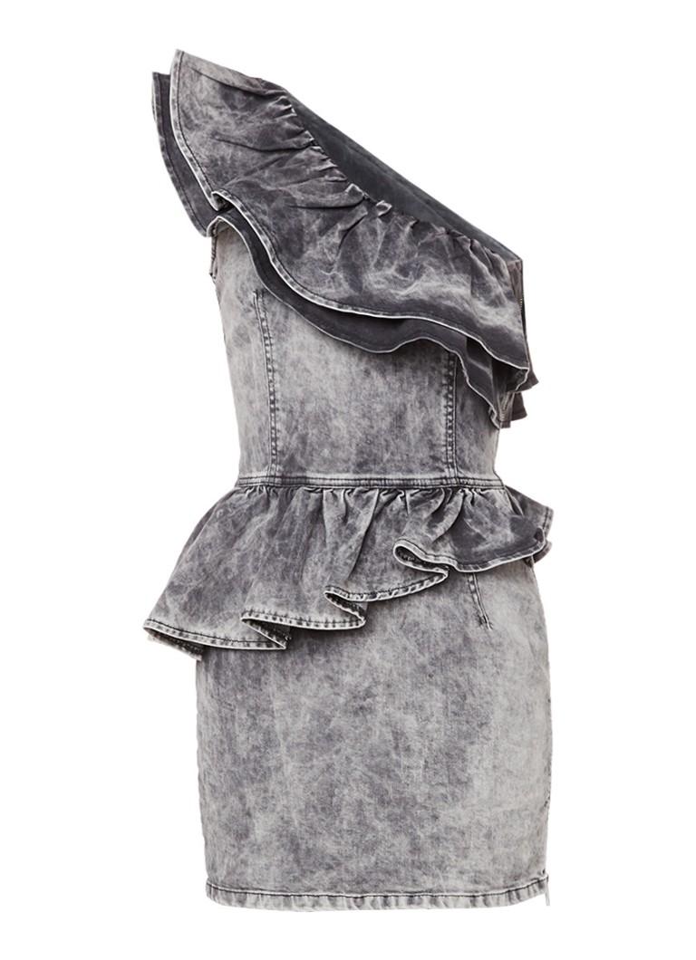 Diesel One shoulder jurk van denim met ruches