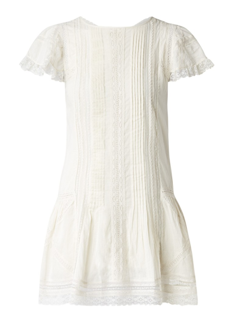 Diesel Alisa jurk met plissé en details van kant ivoor