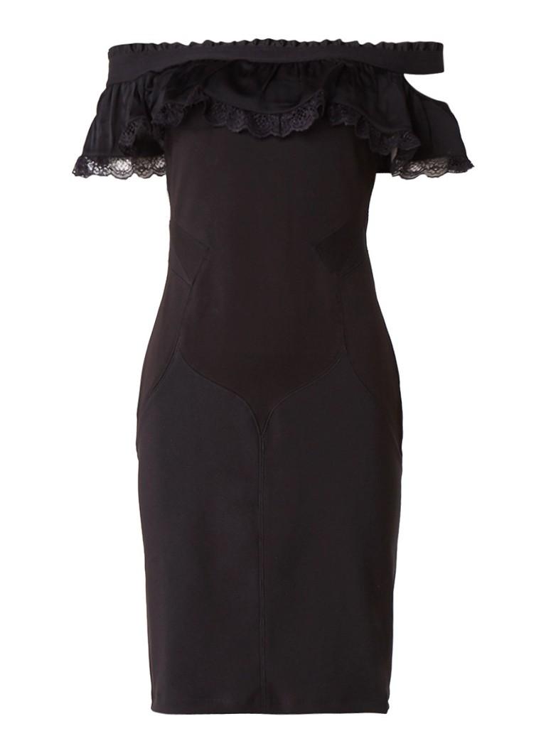 Diesel D-Catrin off shoulder jurk met rucehs zwart