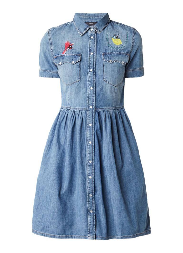 Diesel De-Keishi denim A-lijn blousejurk met borduring