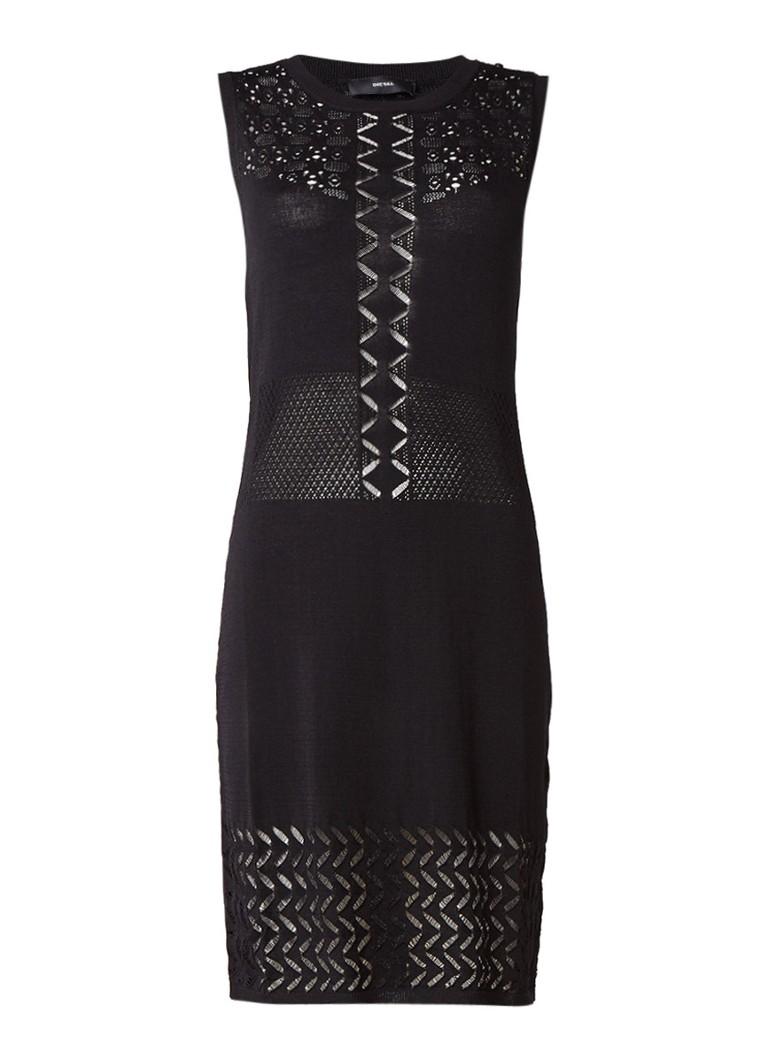 Diesel M-Enka fijngebreide jurk met opengewerkt dessin zwart