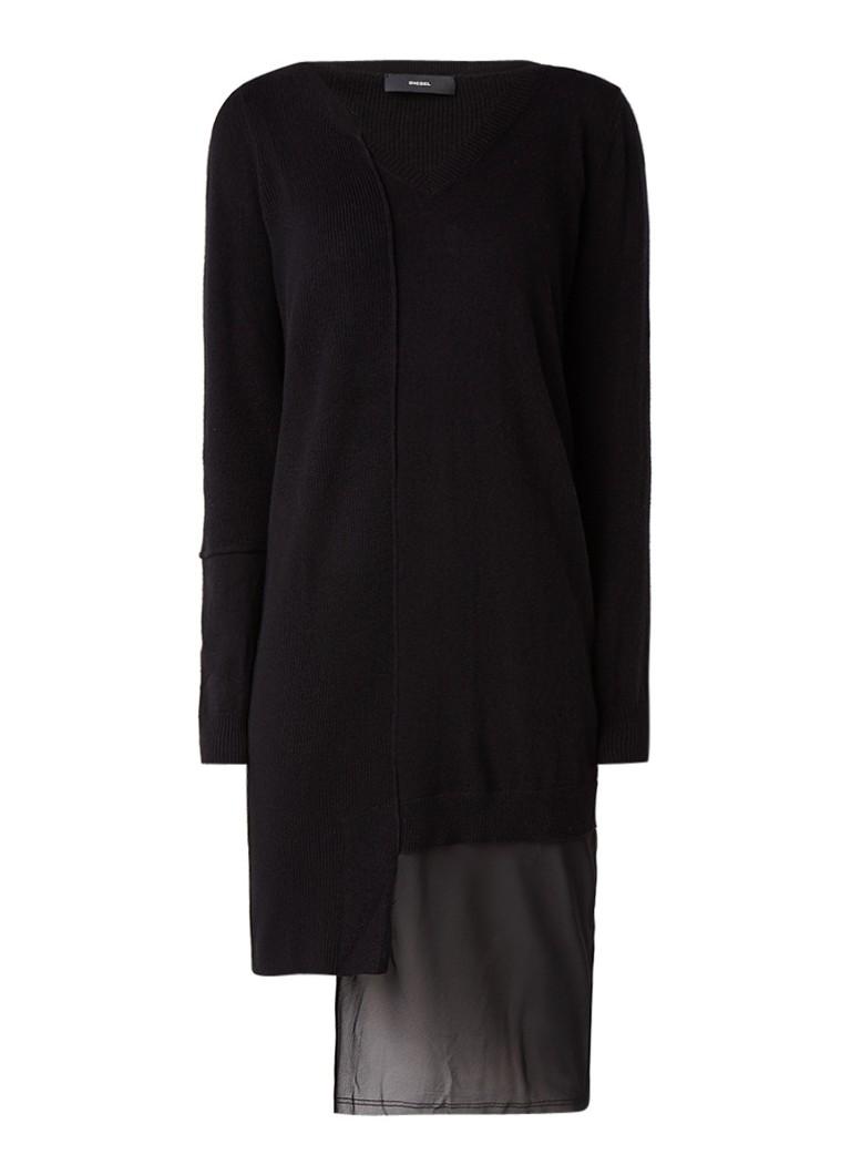 Diesel M-Glice fijngebreide jurk met asymmetrische chiffon inzet zwart