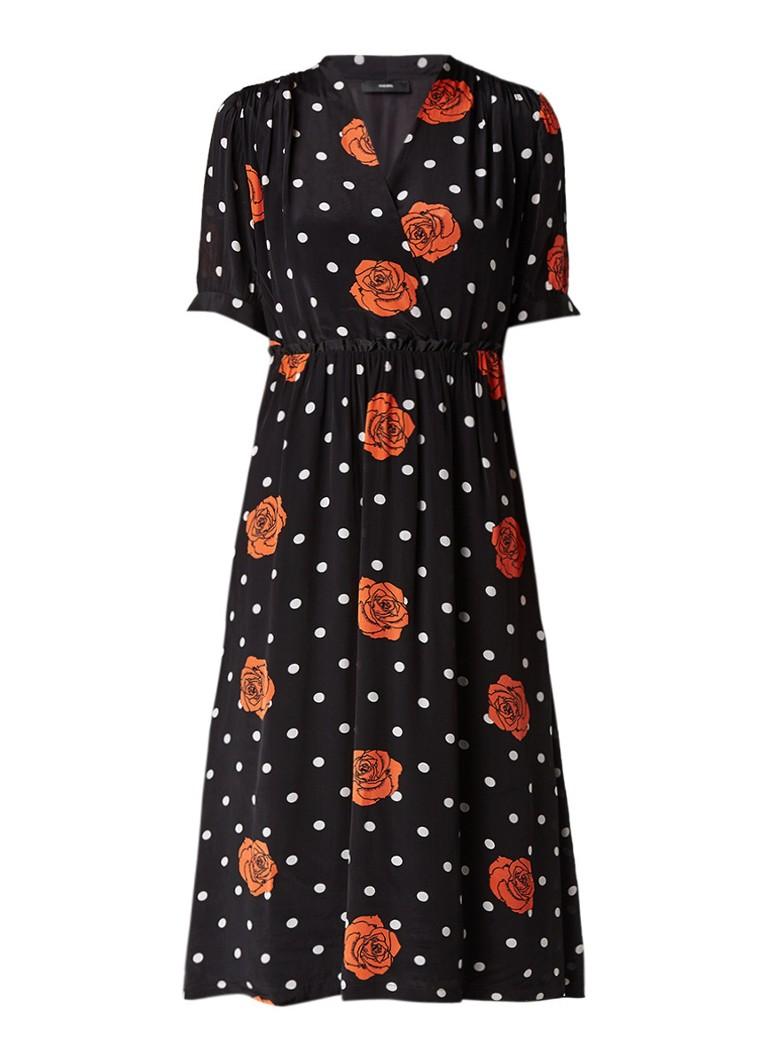 Diesel D-Leah midi-jurk met stippendessin en bloemdessin zwart