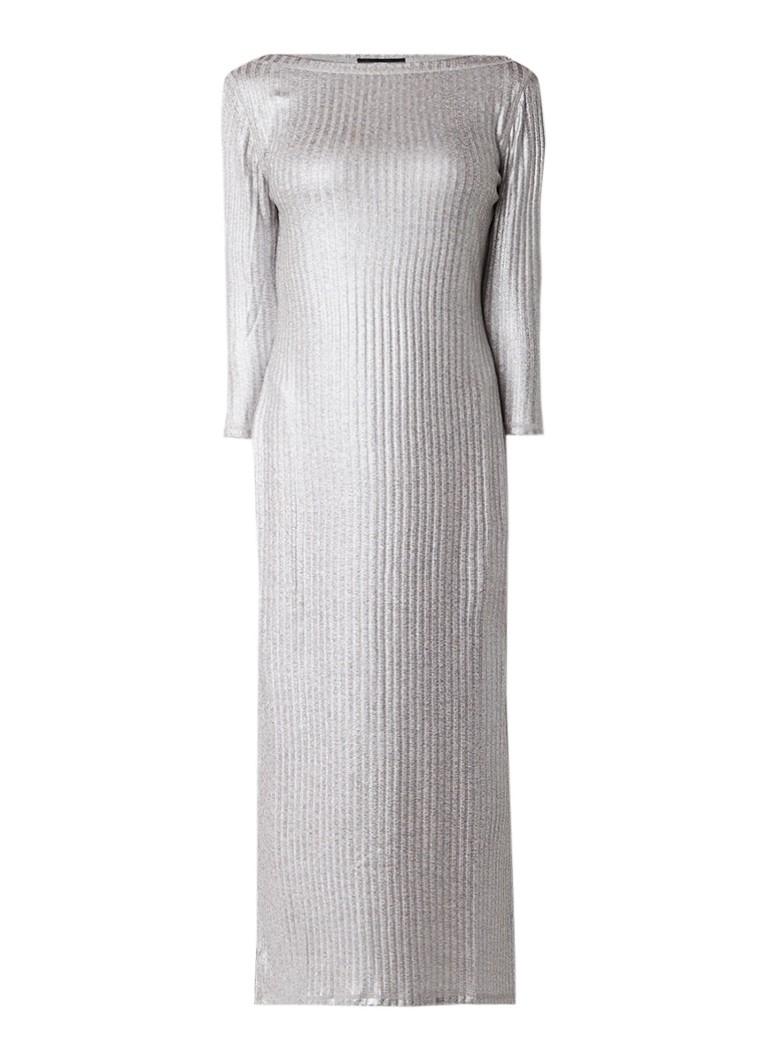 Diesel D-Verony ribgebreide maxi-jurk met glansdraad zilver