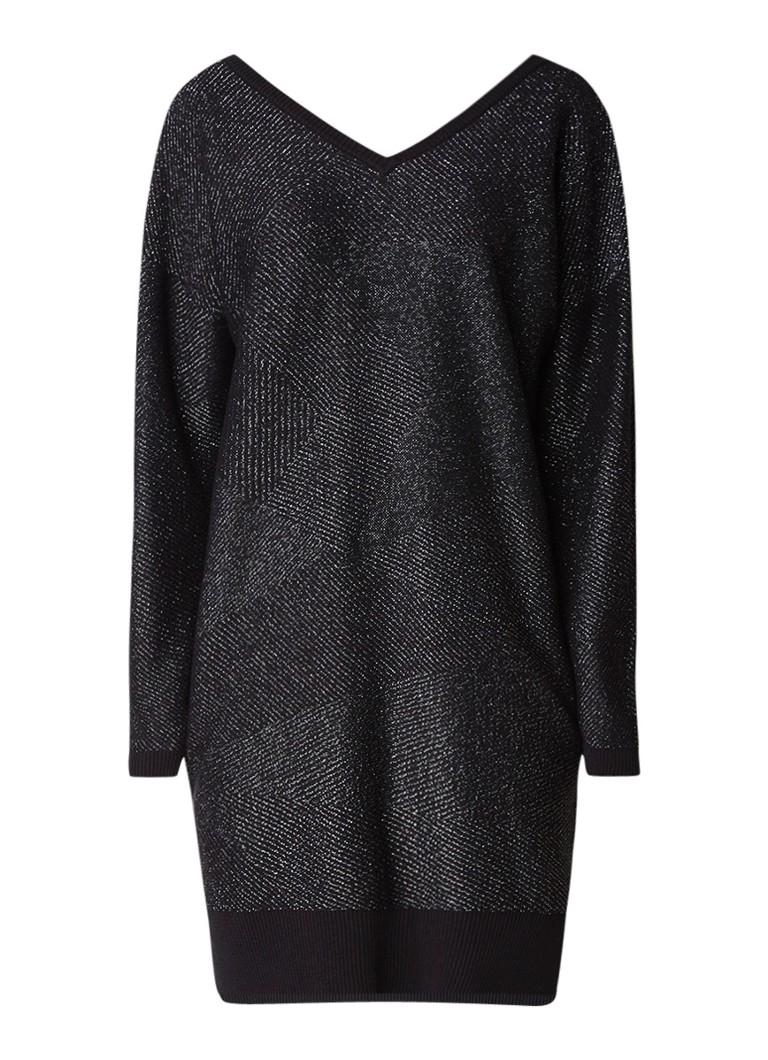 Diesel M-Starry fijngebreide midi-jurk met lurex zwart