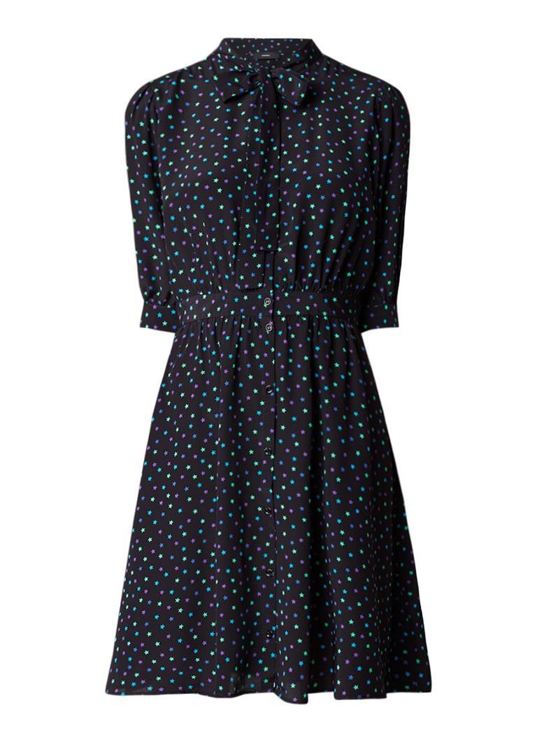 Diesel D-Marb blousejurk van zijde met strikkraag en sterrenprint zwart