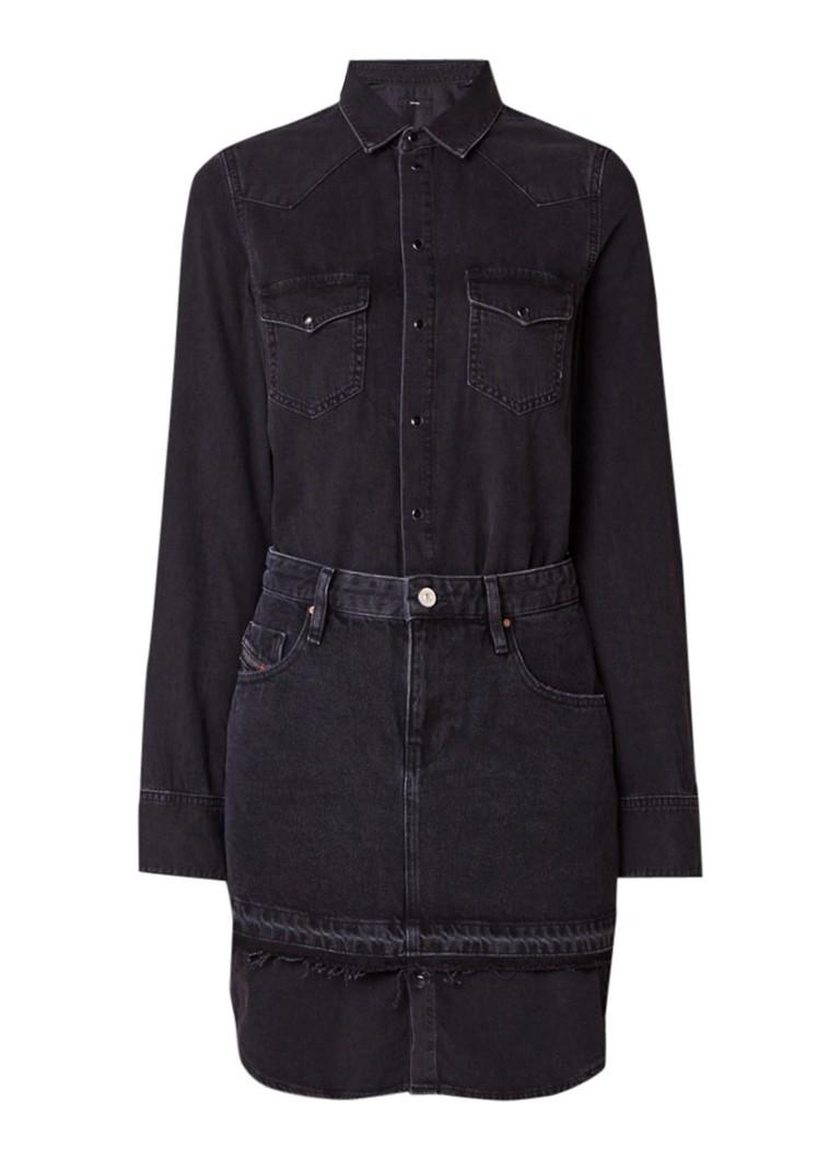 Diesel Desy denim blousejurk met geïntegreerde mini-rok zwart