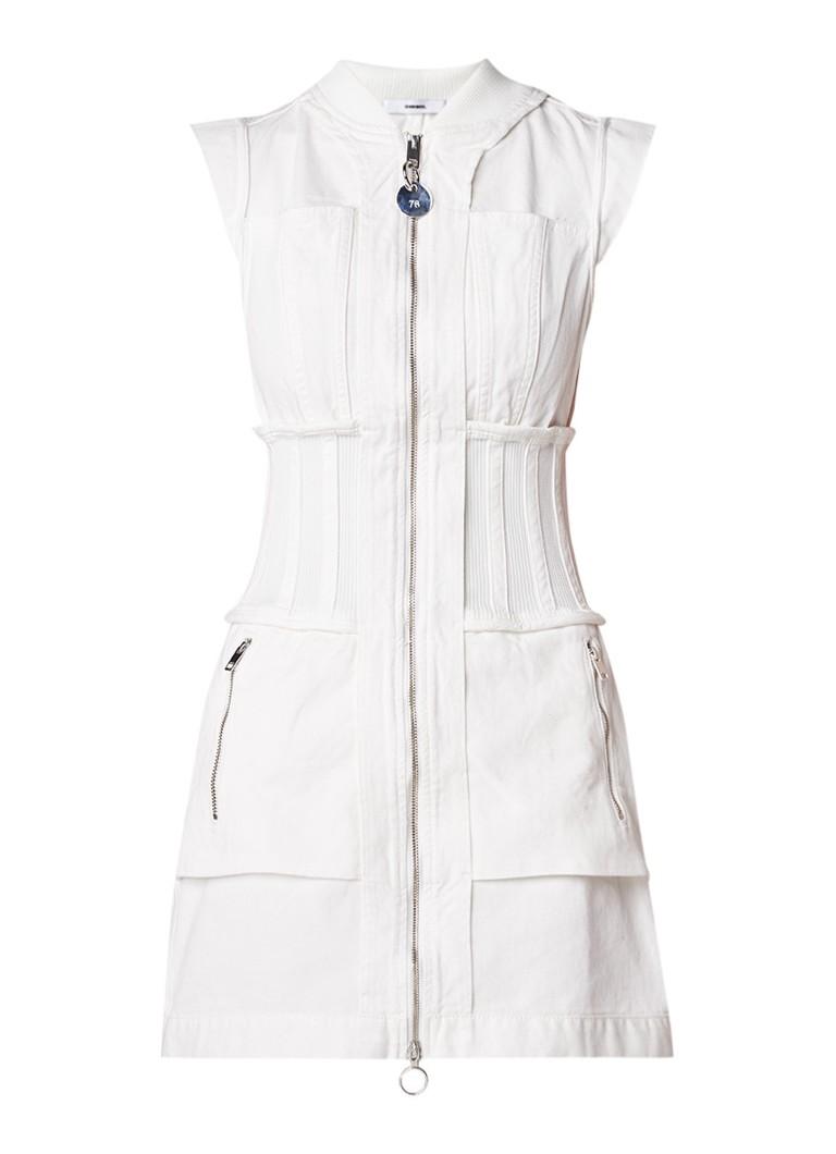 Diesel De-Bill mini-jurk van denim met deelbare rits gebroken wit