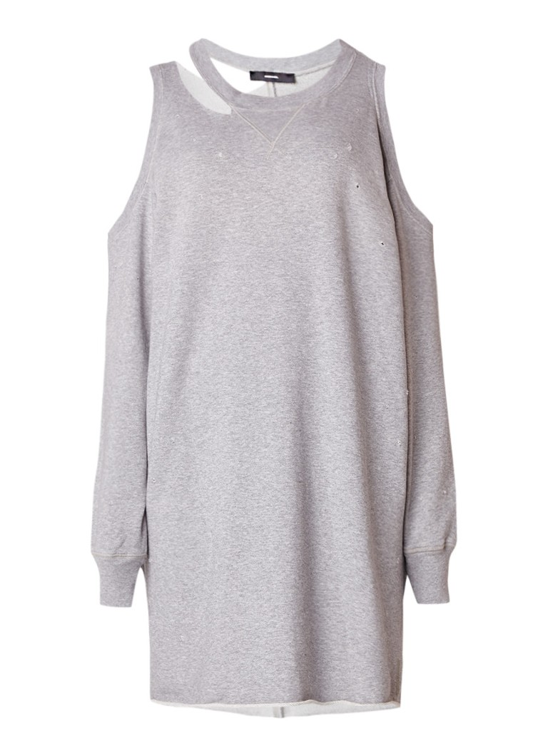 Diesel D-Carli cold shoulder sweaterjurk met destroyed details grijsmele