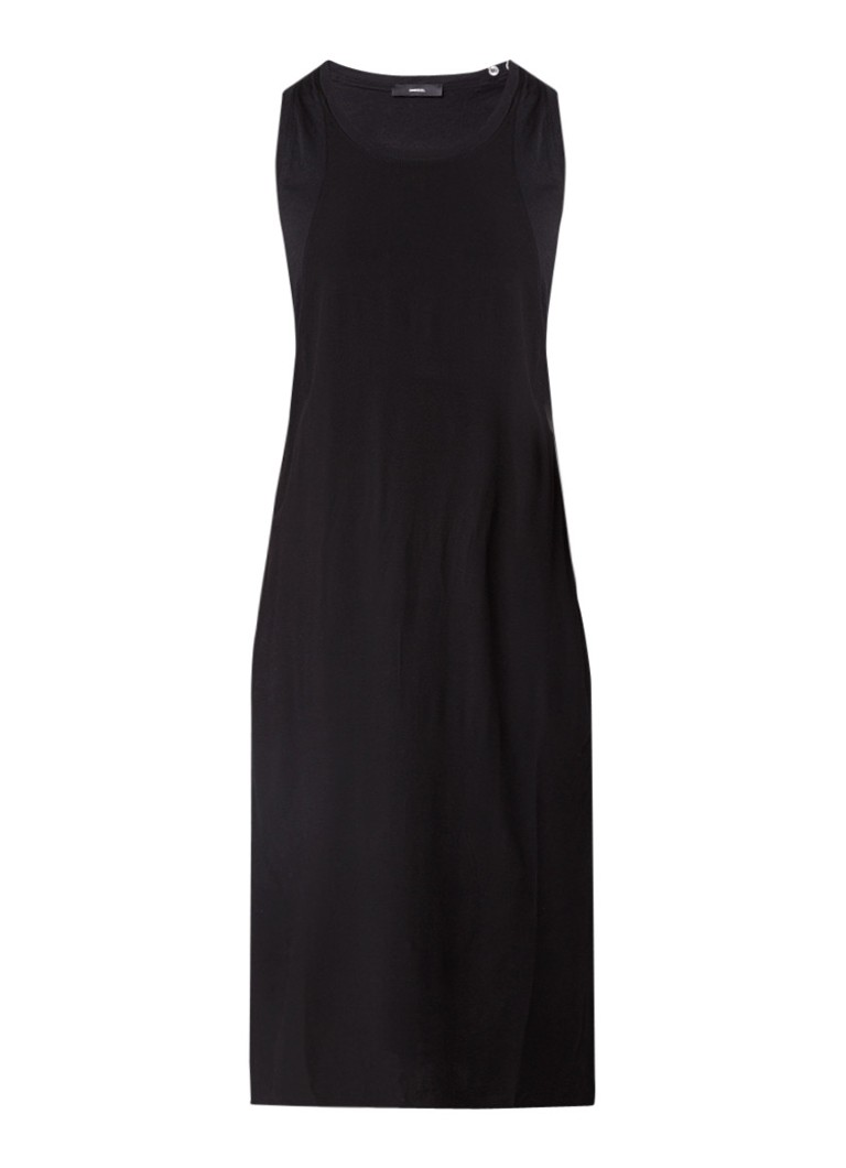 Diesel D-Rush midi-jurk van katoen met applicatie zwart