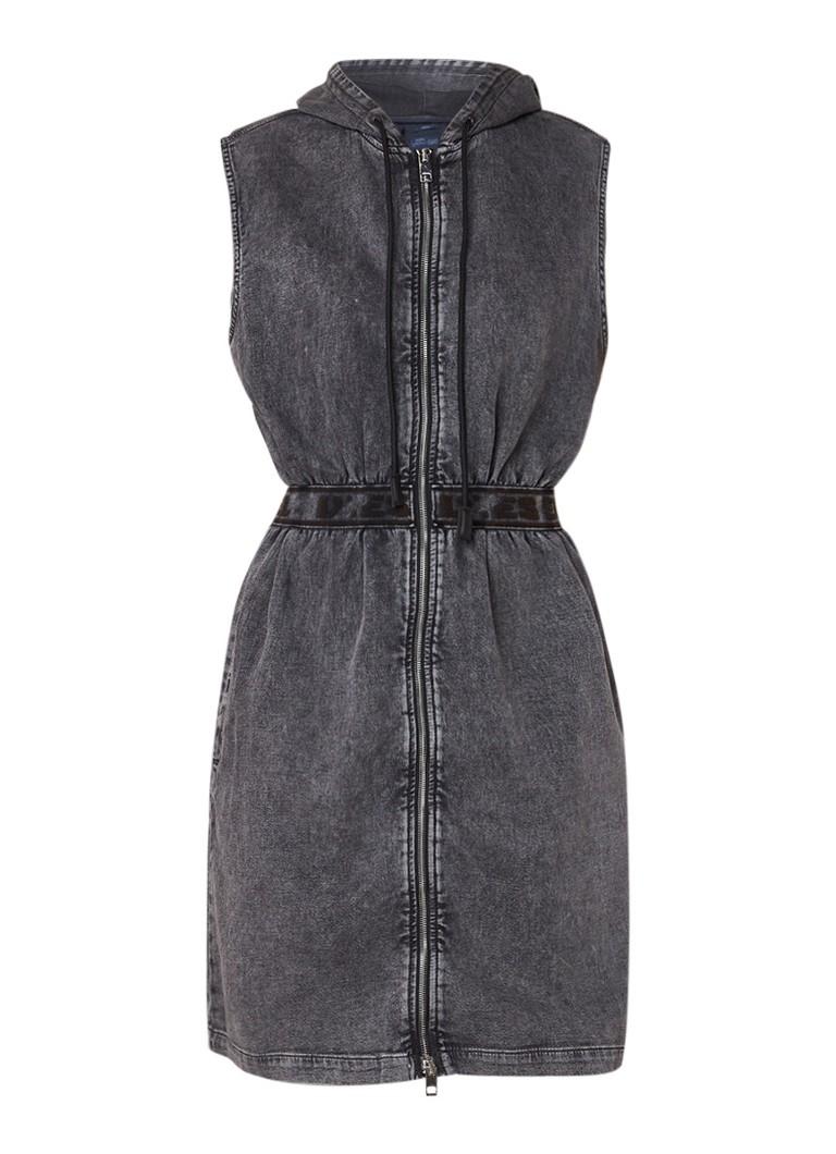 Diesel Noelle-Ne jurk van denim met capuchon zwart