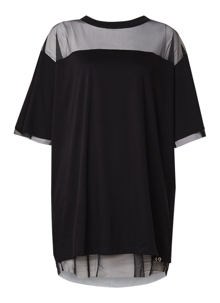 Diesel D-Lia loose fit mini-jurk met semi-transparante inzet zwart