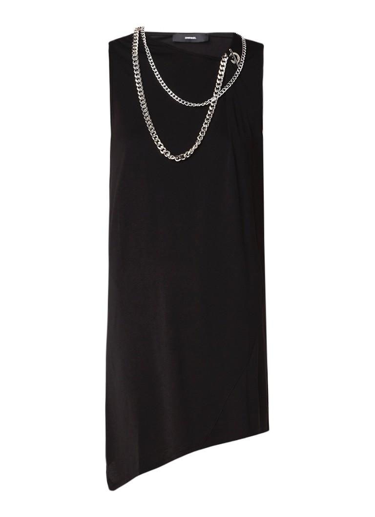 Diesel D-Adrie jurk met kettingdetail zwart