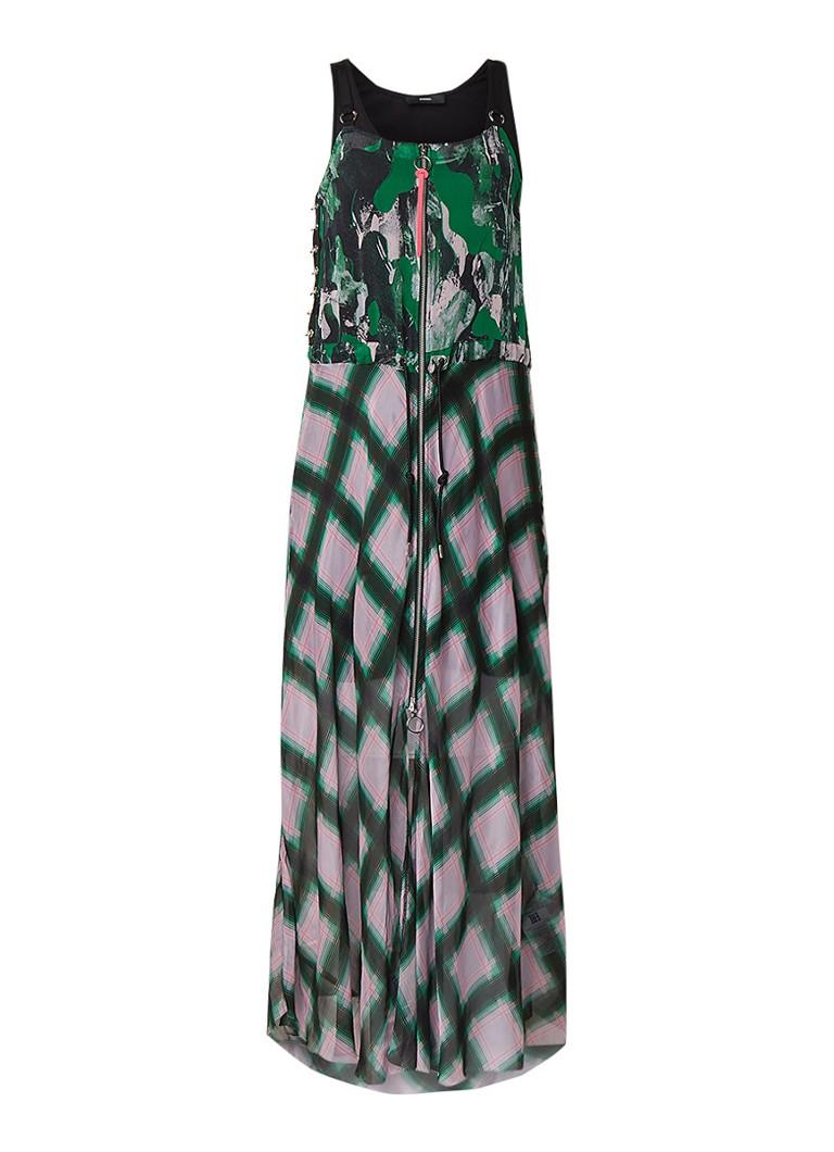 Diesel D-Ring semi-transparante maxi-jurk met ruitdessin groen