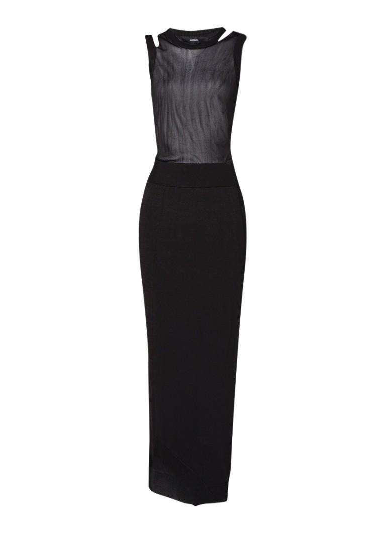 Diesel M-Doble maxi-jurk met semi-transparante top zwart