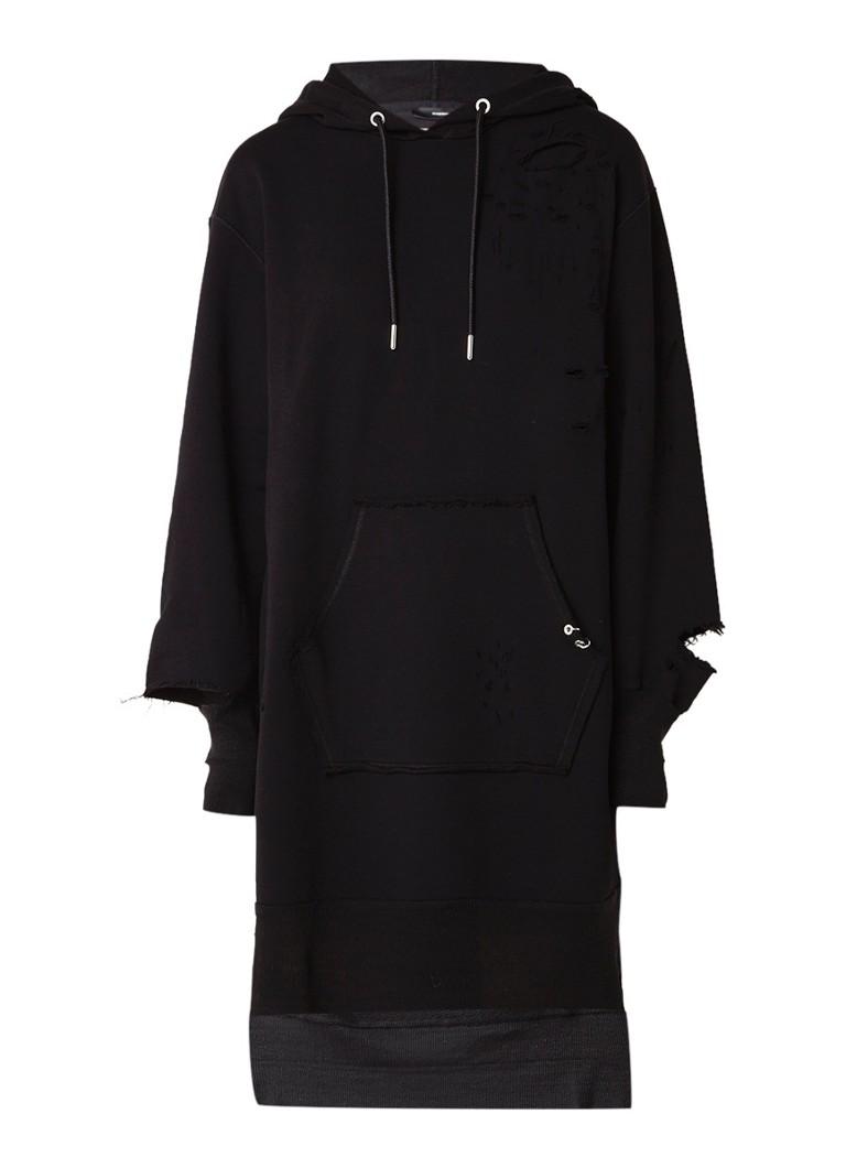 Diesel D-Ilse midi-jurk van sweatstof met capuchon en destroyed detail zwart