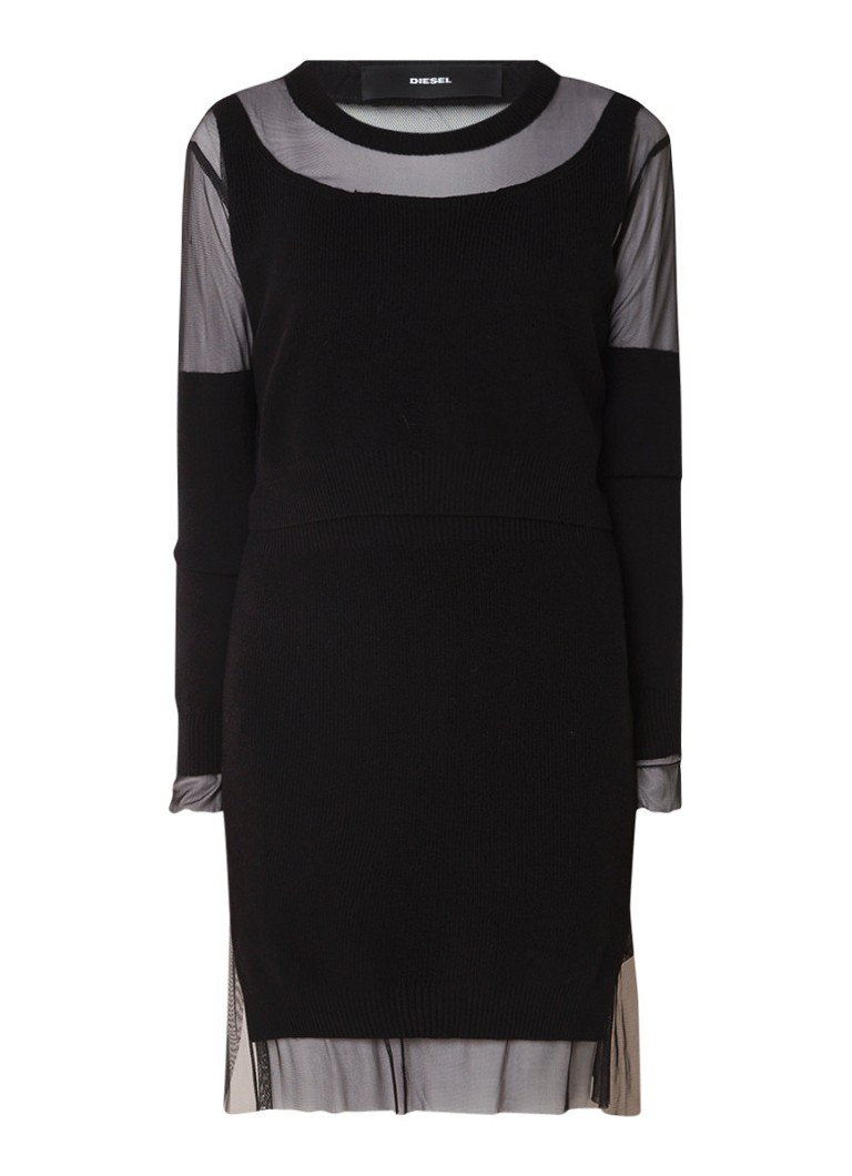 Diesel M-Gautier fijngebreide jurk met inzet van mesh zwart