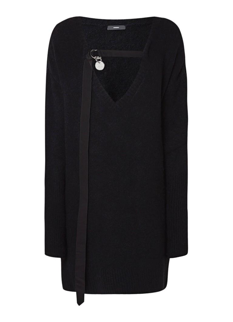 Diesel M-Softy fijngebreide trui-jurk in alpacawolblend zwart