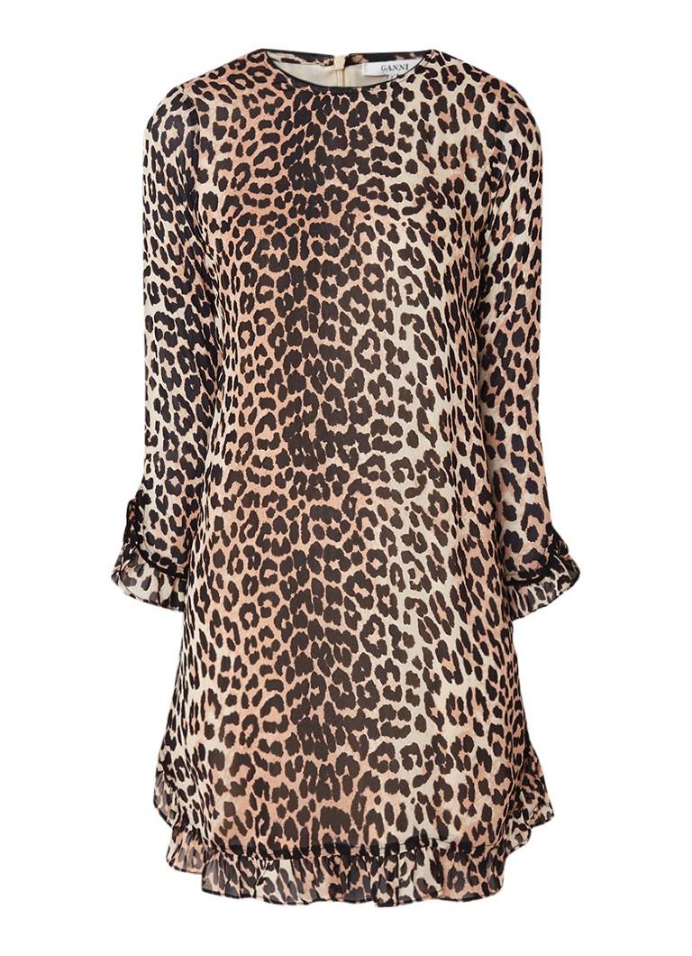 Ganni Mullin mini-jurk van chiffon met luipaarddessin bruin