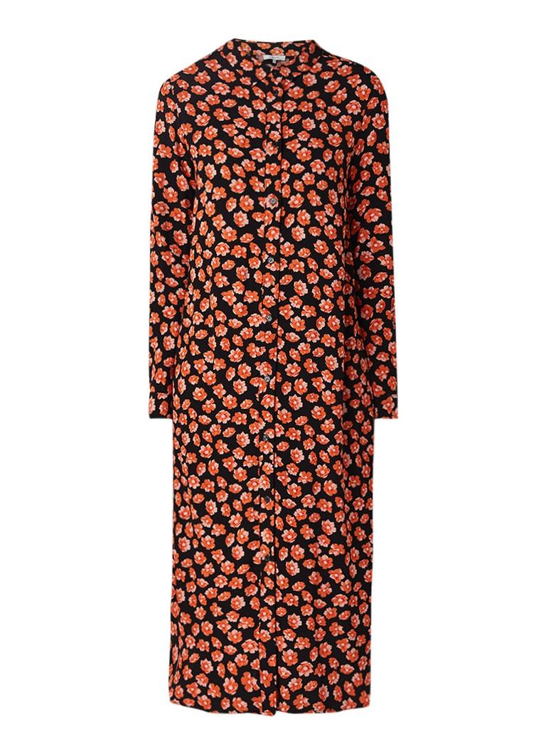 Ganni Lindale blousejurk van crêpe met bloemendessin rood