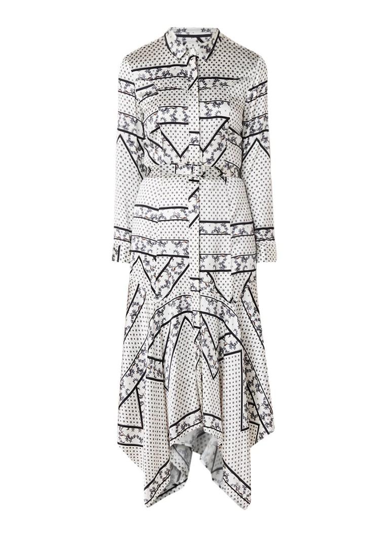 Ganni Blakely Western maxi-jurk van zijde met dessin wit