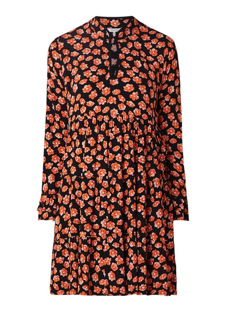 Ganni Lindale A-lijn jurk van crêpe met bloemendessin rood