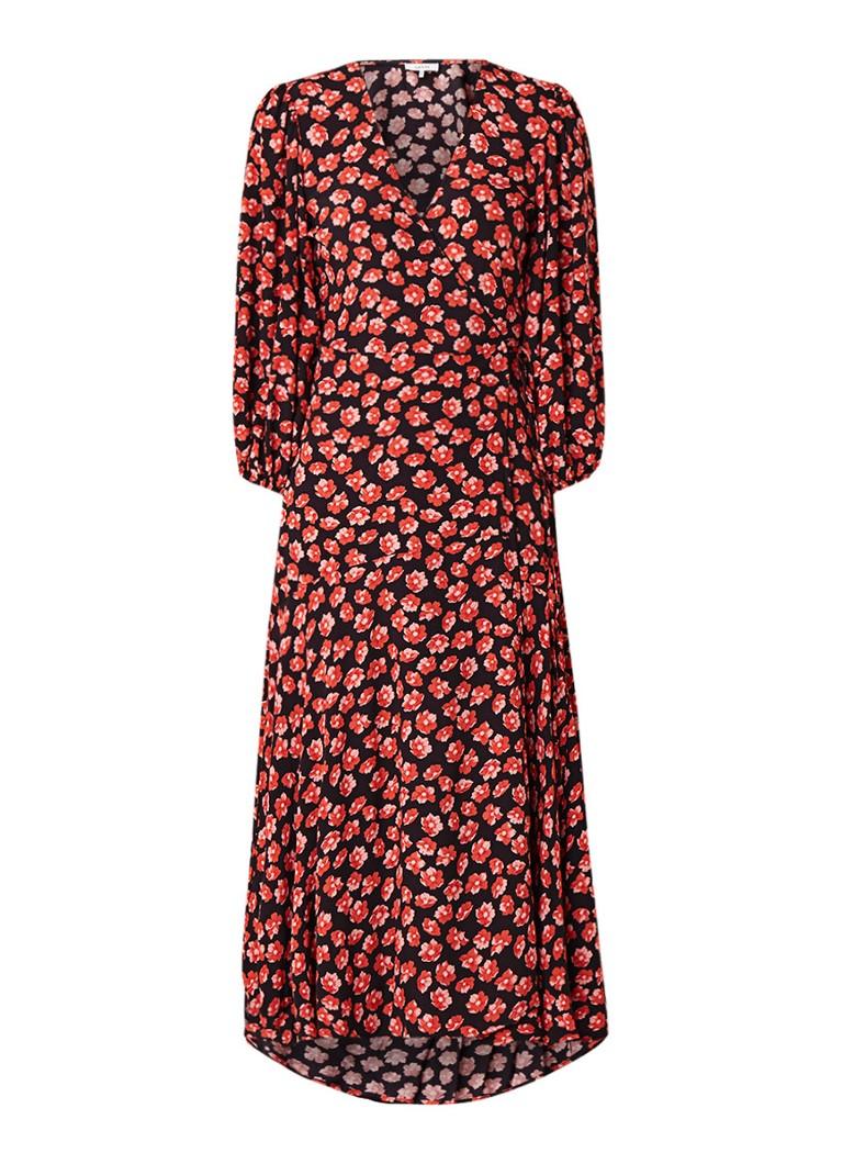 Ganni Lindale maxi-wikkeljurk van crêpe met bloemendessin rood