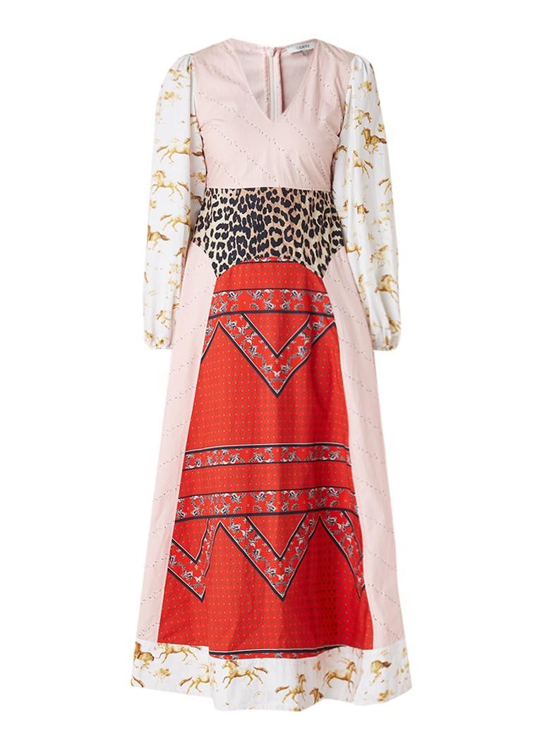 Ganni Sweeny maxi-jurk met dessin en patchwork rood