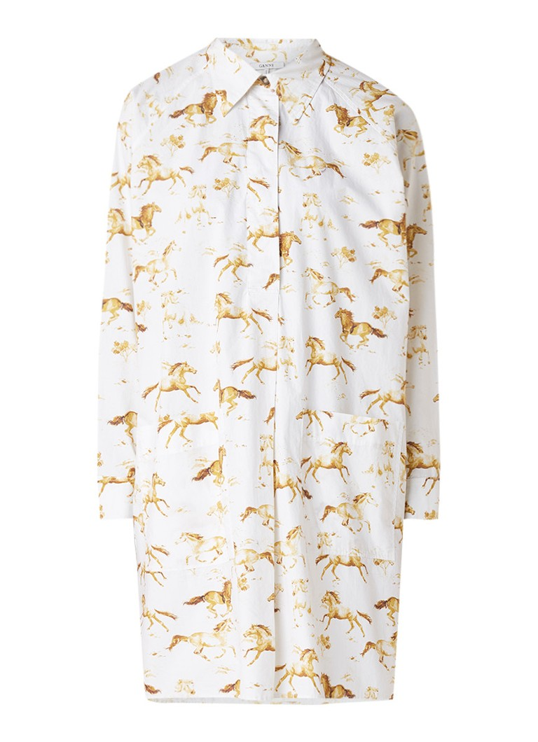 Ganni Weston Poplin blousejurk met paardendessin wit