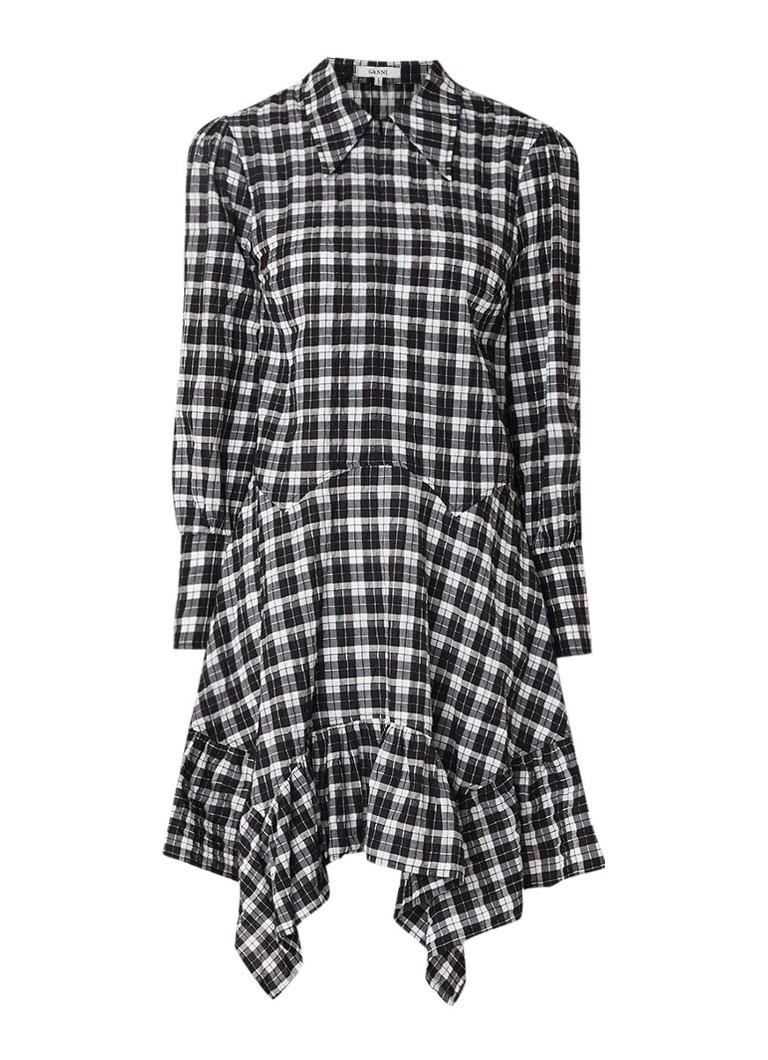 Ganni Charron loose fit A-lijn jurk met ruitdessin zwart