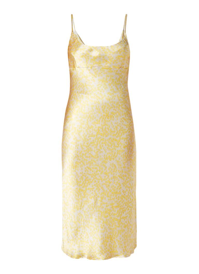 Ganni Cameron cami midi-jurk van satijn met bloemendessin vanillegeel