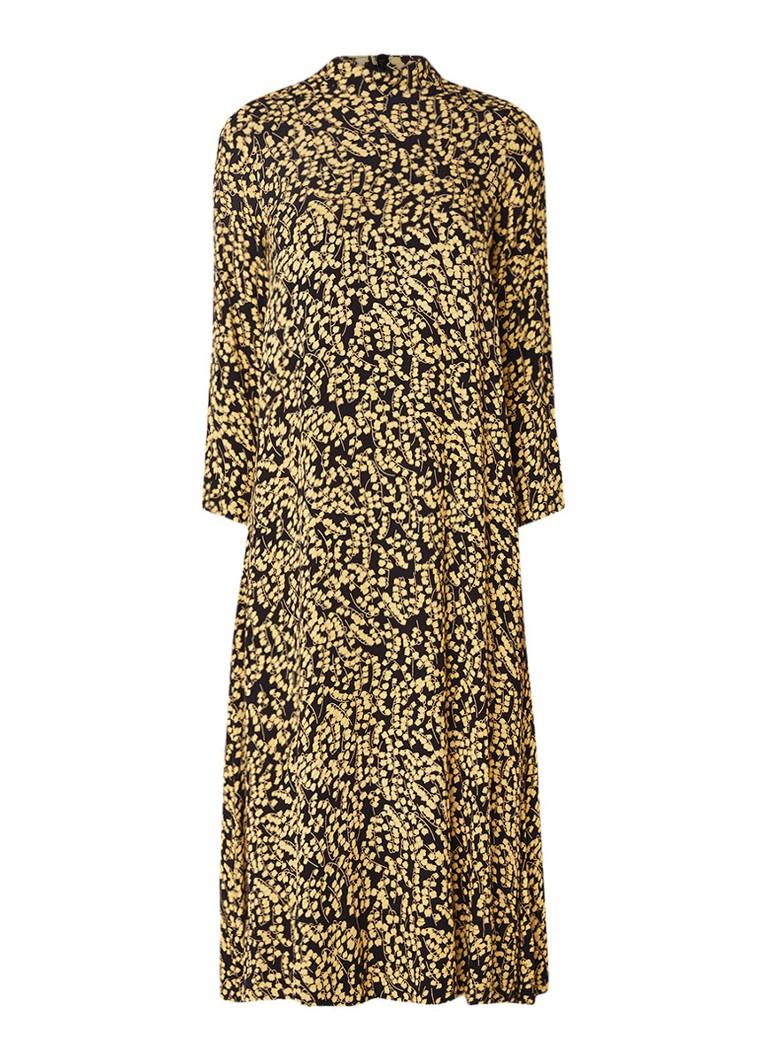 45cf8d05849c4b Ganni Goldstone maxi-jurk van crêpe met bloemendessin zwart