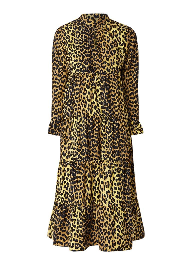 Ganni Bijou maxi-jurk met stroken en luipaarddessin geel