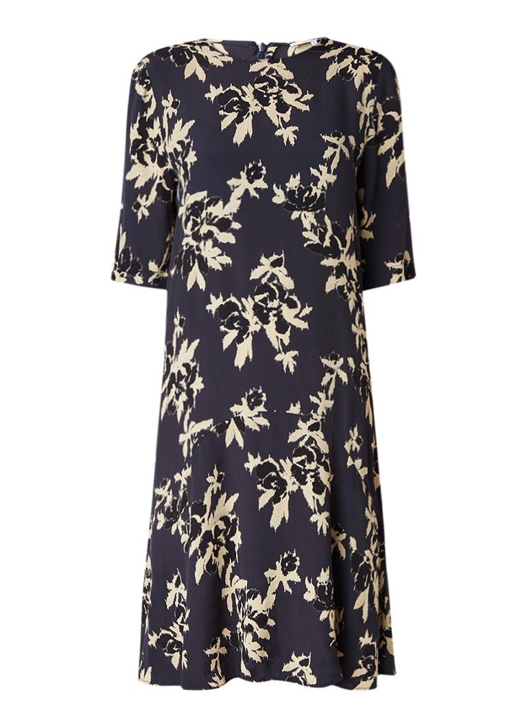 Ganni St Pierre jurk van crêpe met bloemendessin donkerblauw