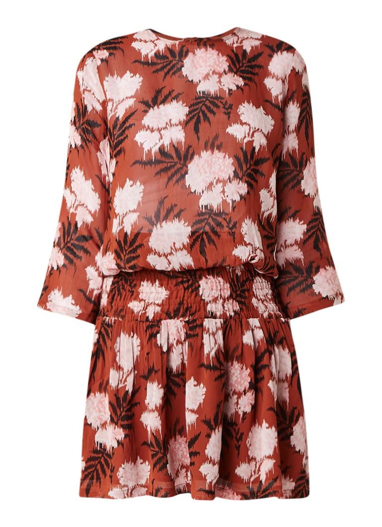 Ganni Monette Georgette jurk met bloemendessin roestbruin