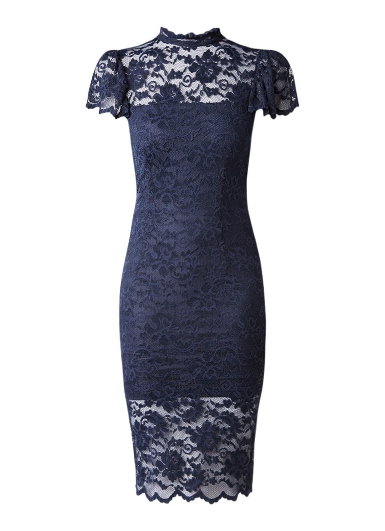 Ganni Flynn midi-jurk van kant met ruches donkerblauw