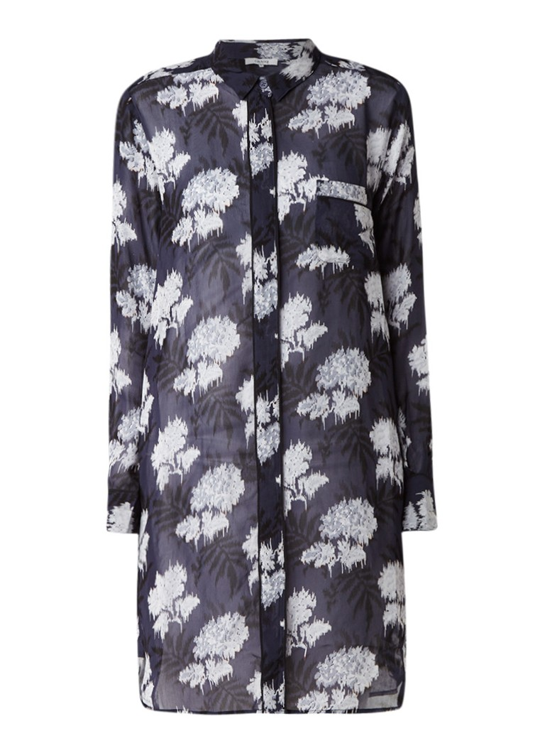 Ganni Monette Georgette blousejurk met bloemendessin donkerblauw