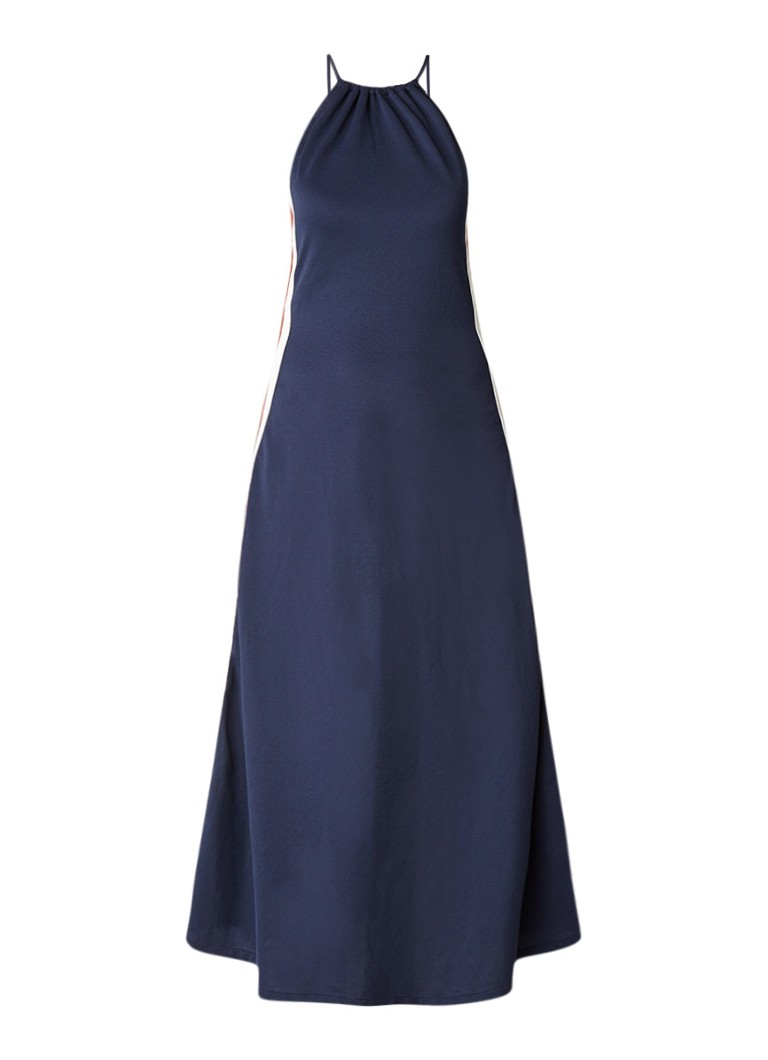 Ganni Dubois Polo midi-jurk met gestreepte bies donkerblauw