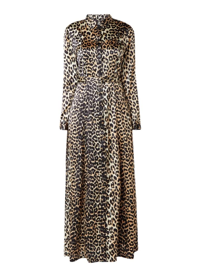 Ganni Dufort maxi-jurk van zijde met luipaarddessin beige
