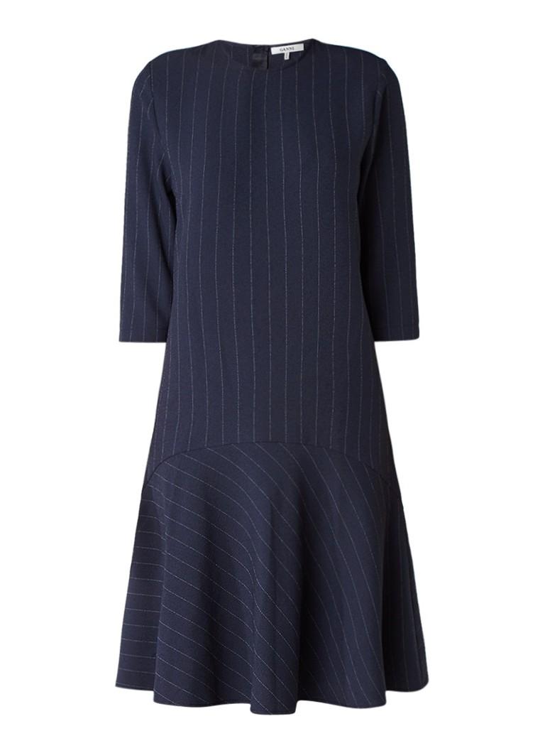 Ganni Clark A-lijn jurk met krijtstreep donkerblauw