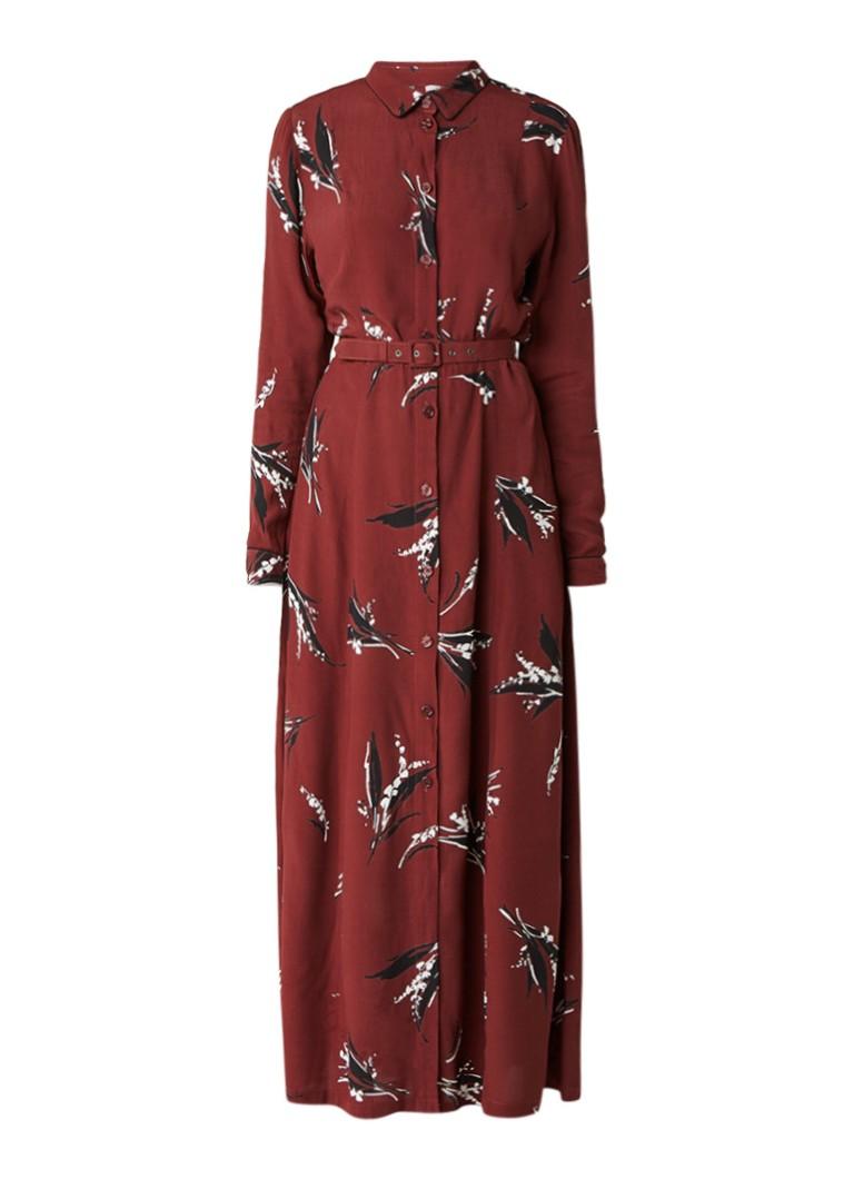Ganni Montrose maxi-jurk van crêpe met bloemendesin kastanjebruin