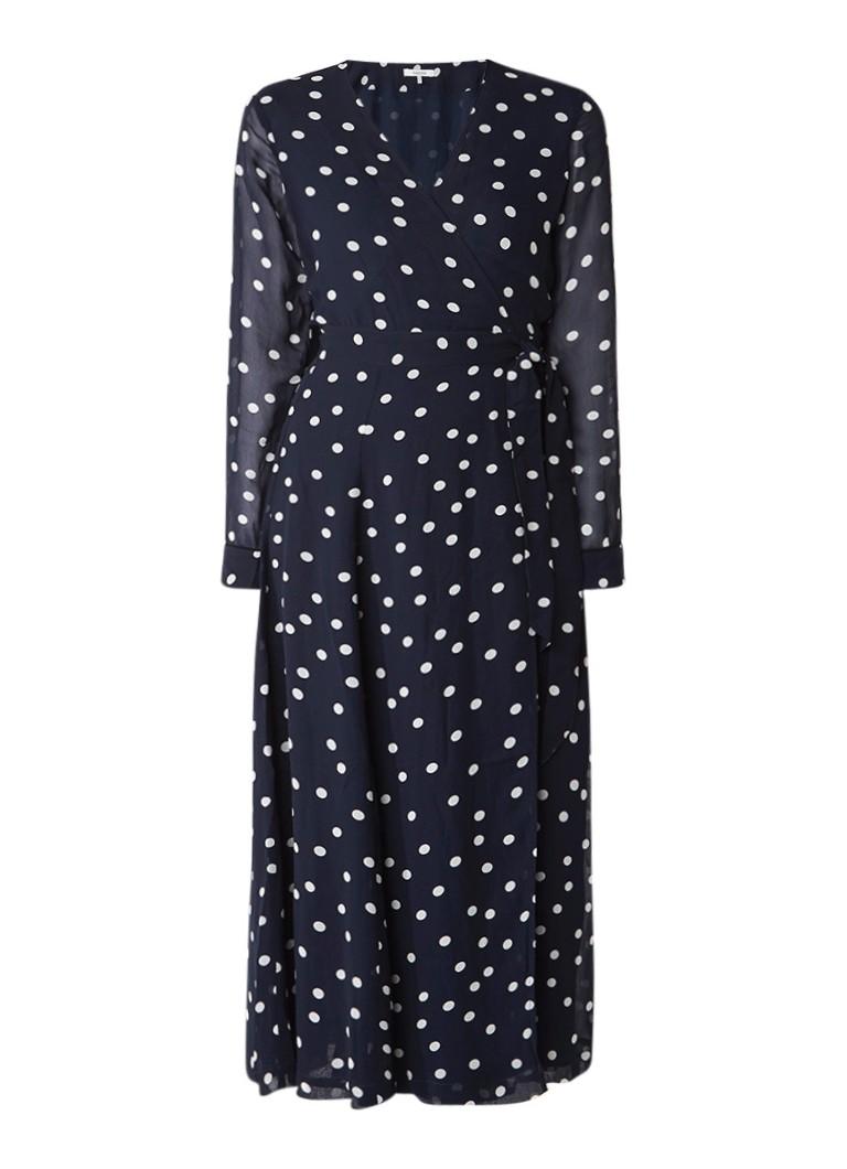 Ganni Marceau Georgette maxi-jurk van crêpe met stippendessin donkerblauw