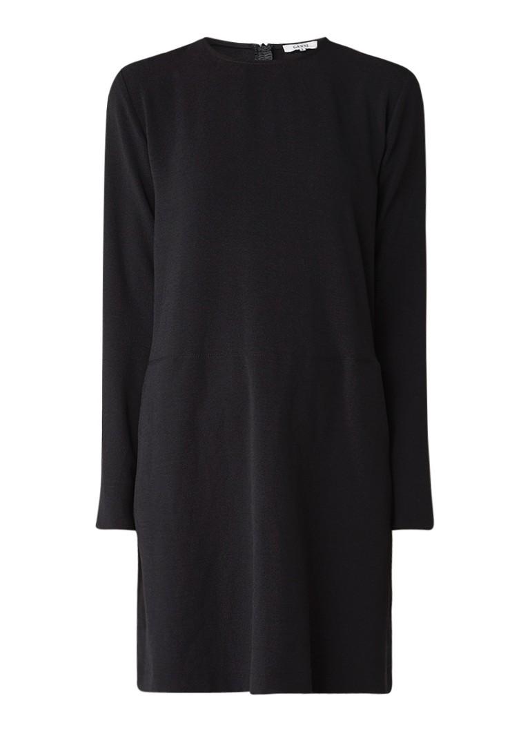 Ganni Clark mini jurk van crêpe met lange mouw zwart