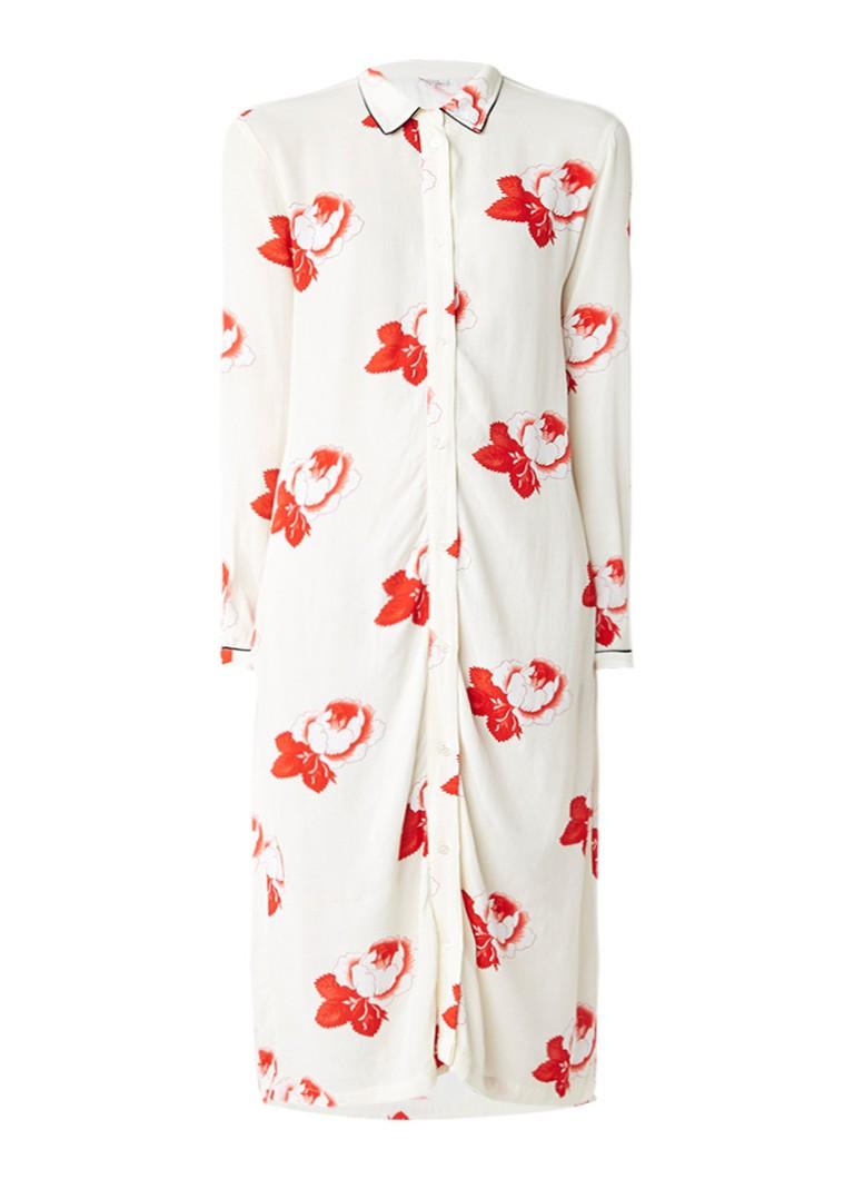 Ganni Harley blousejurk met bloemendessin in pyjamalook gebroken wit
