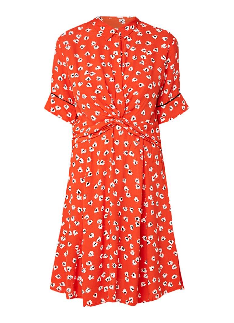 Ganni Silvery blousejurk van crêpe met knoopdetail oranjerood